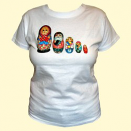 "T-shirt ""Matroesjka"" wit"